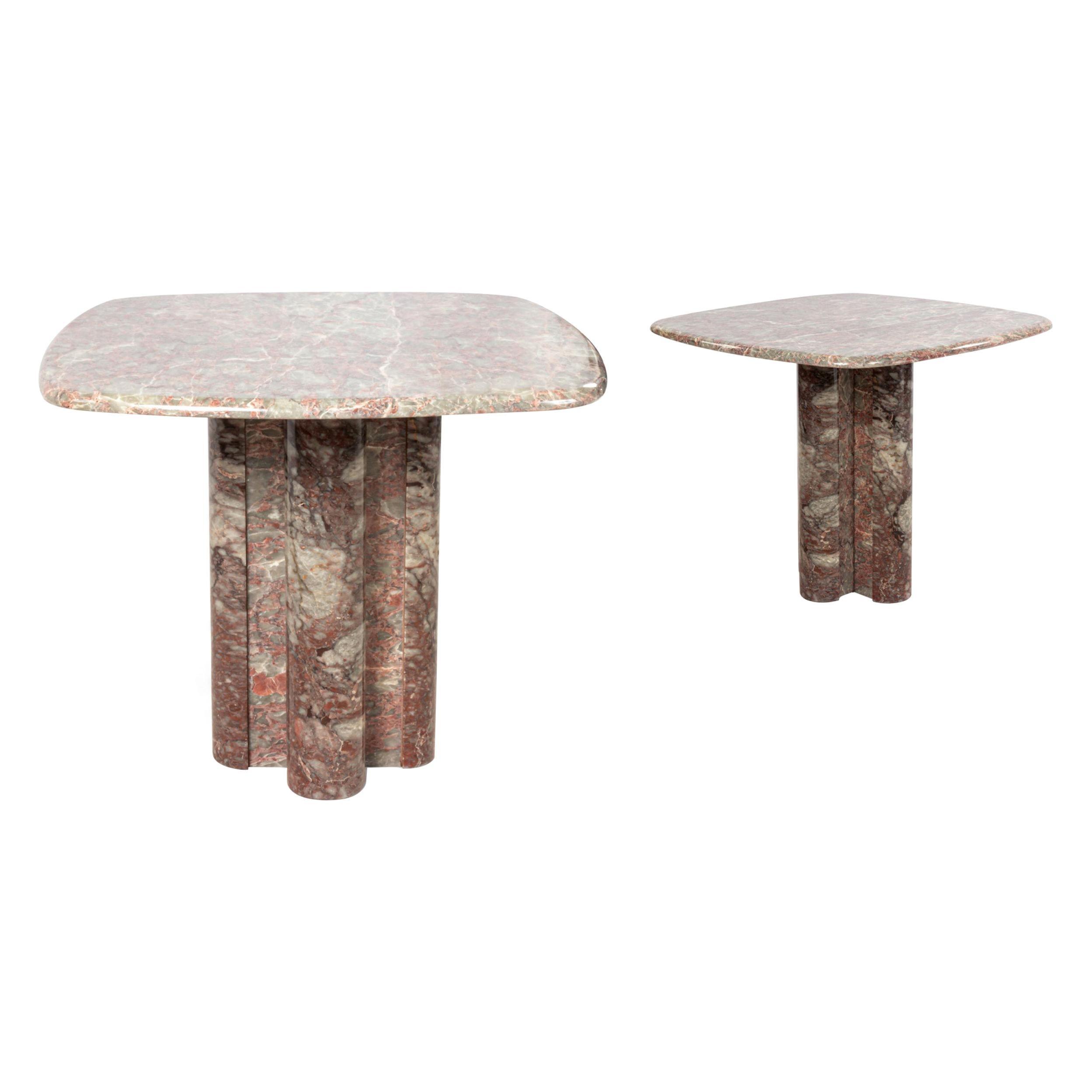 Midcentury Italian Marble End Tables