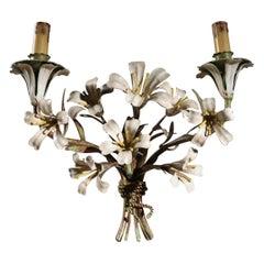 Midcentury Italian Metal Flower Wall Lamp