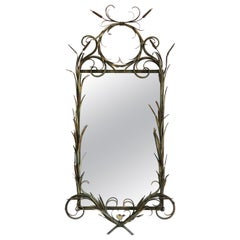 Mid-Century Italian Metal LaBarge Mirror with Bird and Leaves