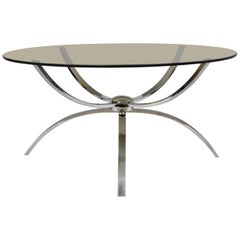 Midcentury Italian Modern Chrome Steel Spider Base Round Glass Top Coffee Table