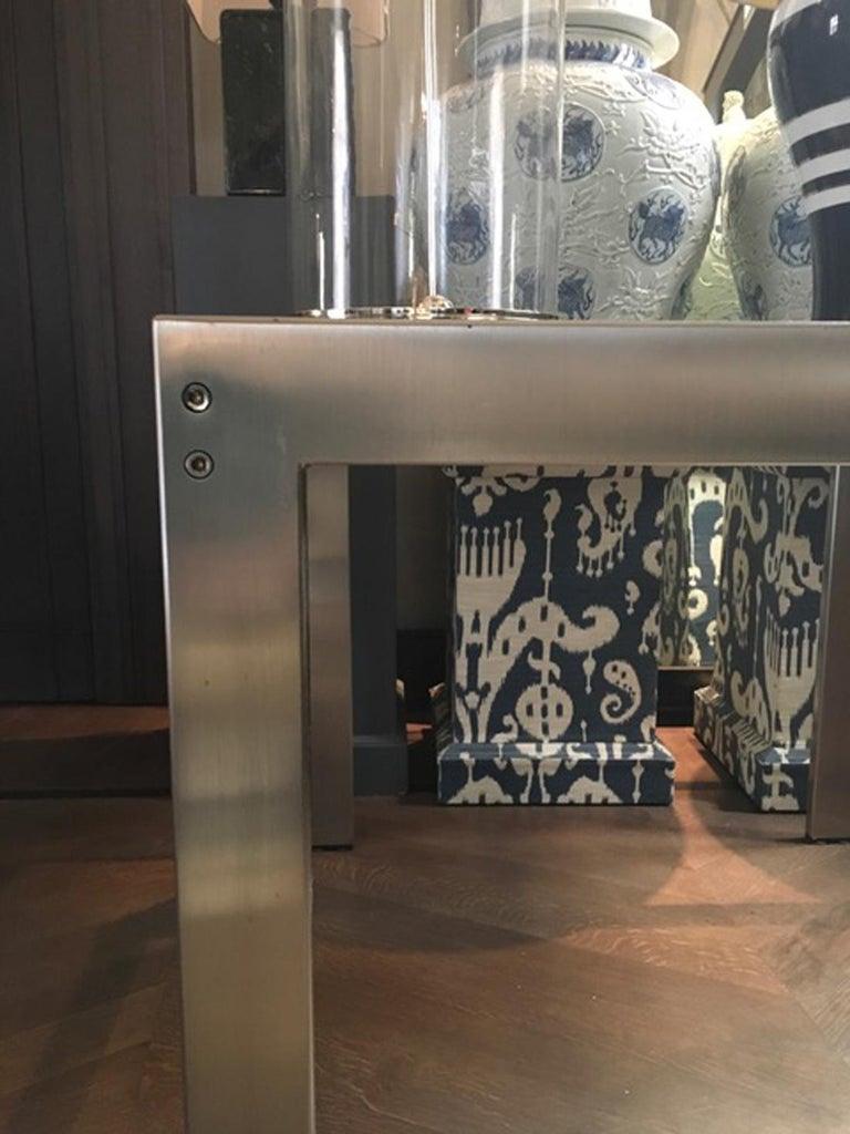 Mid-Century Modern Midcentury Italian Modern Design Brushed Steel Clear Crystal Rectangular Desk For Sale