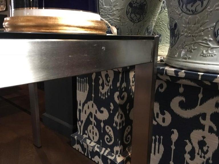Stainless Steel Midcentury Italian Modern Design Brushed Steel Clear Crystal Rectangular Desk For Sale