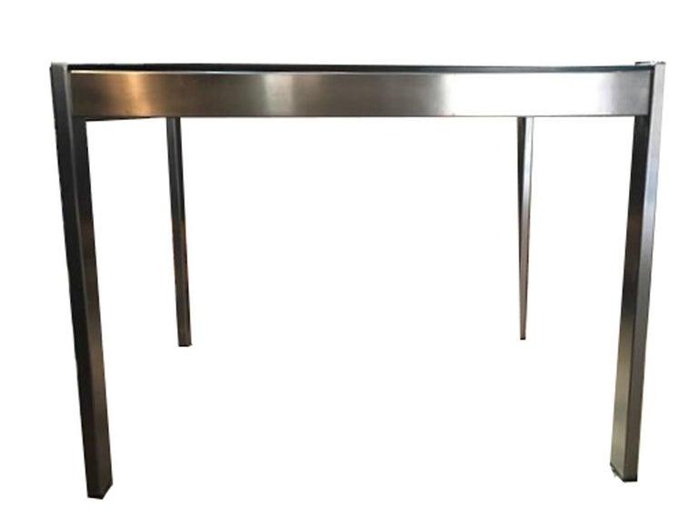 Midcentury Italian Modern Design Brushed Steel Clear Crystal Rectangular Desk For Sale 1