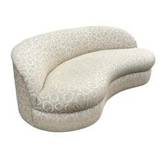 Mid Century Italian Modern Kidney Shape Curved Sofa