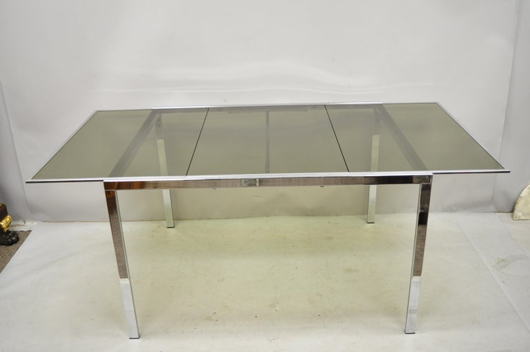 Midcentury Italian Modern Chrome and Glass Extension Dining Table For Sale 7