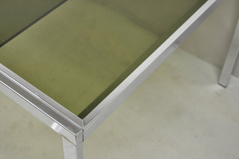 Midcentury Italian Modern Chrome and Glass Extension Dining Table In Good Condition For Sale In Philadelphia, PA