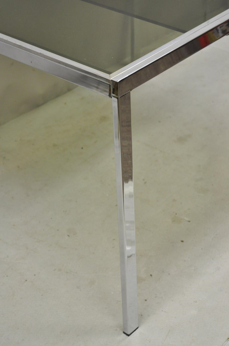 Late 20th Century Midcentury Italian Modern Chrome and Glass Extension Dining Table For Sale