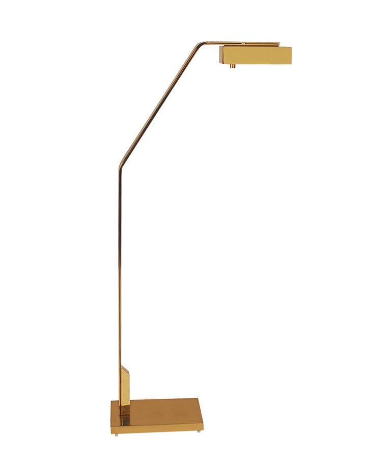 Mid-Century Modern Midcentury Italian Modern Polished Brass Reading Floor Lamp by Casella For Sale