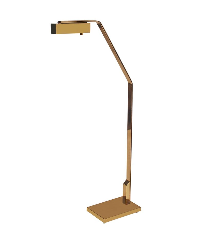 Late 20th Century Midcentury Italian Modern Polished Brass Reading Floor Lamp by Casella For Sale
