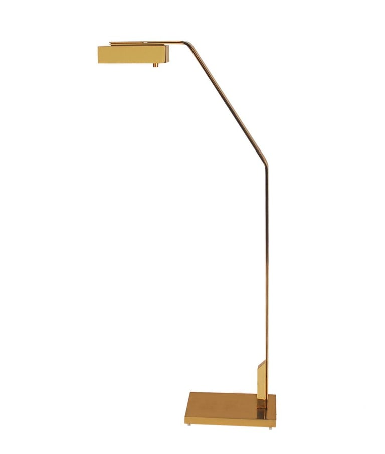 Midcentury Italian Modern Polished Brass Reading Floor Lamp by Casella For Sale 2