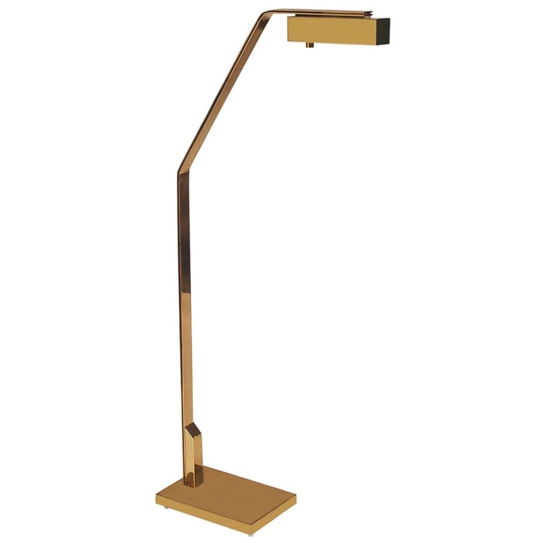 Midcentury Italian Modern Polished Brass Reading Floor Lamp by Casella For Sale