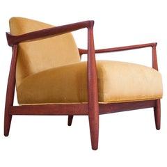 Midcentury Italian Modern Sculpted Walnut and Ochre Velvet Lounge Chair