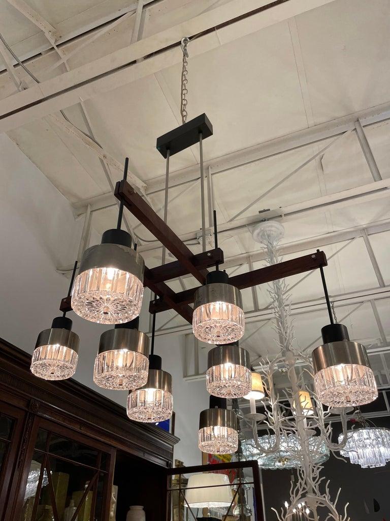 Mid-20th Century Mid-Century Italian Modern & Sculptural 8-Light Chandelier For Sale