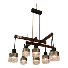 Mid-Century Italian Modern & Sculptural 8-Light Chandelier