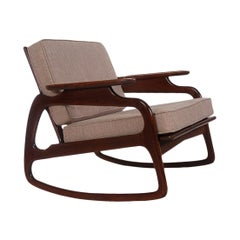 Mid Century Italian Modern Sculptural Rocking Chair in Walnut after Gio Ponti