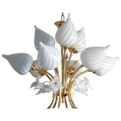 Midcentury Italian Murano Glass Brass Nine-Light Bouquet Chandelier, 1960s