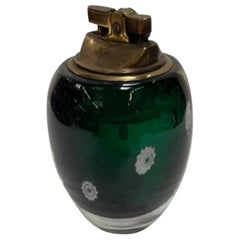 Mid Century Italian Murano Glass Brass Table Lighter