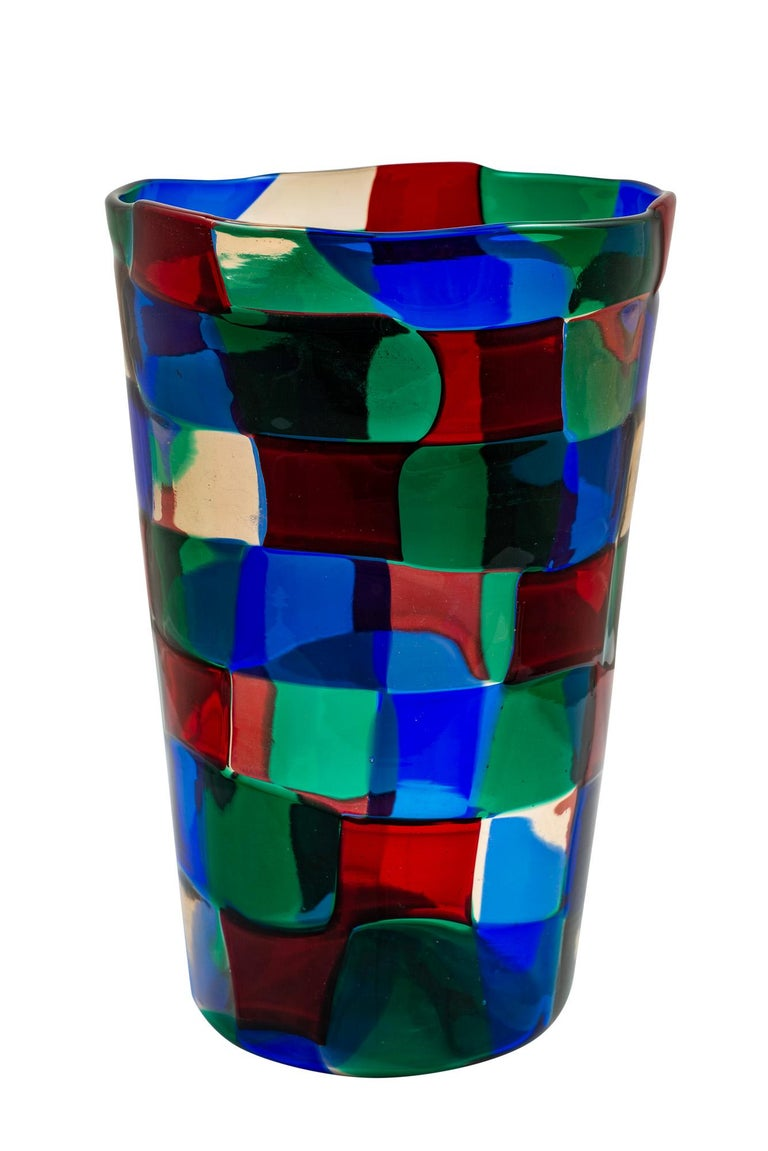 Mid-Century Modern Italian murano glass vase designed by Fulvio Bianconi manufactured by Venini circa 1951  The Pezzato vases are among the most significant objects designed by Fulvio Bianconi for the company