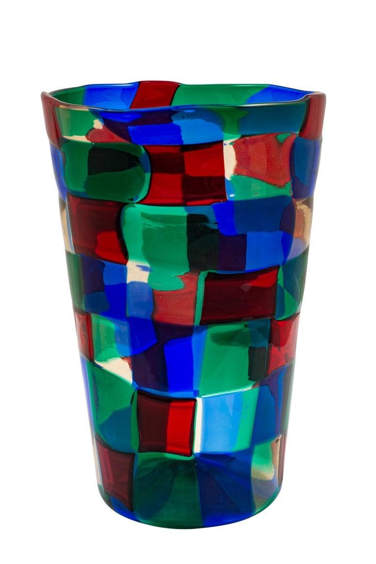 Mid-Century Modern Mid-Century Italian Murano Glass Vase Fulvio Bianconi Venini Blue Red Green For Sale