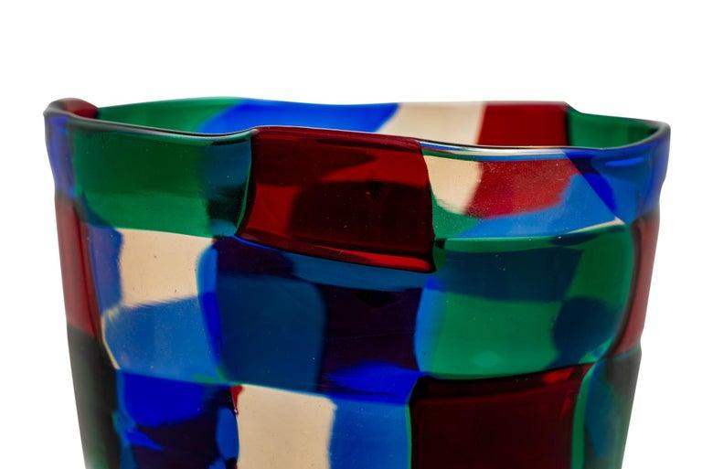 Mid-Century Italian Murano Glass Vase Fulvio Bianconi Venini Blue Red Green In Good Condition For Sale In Vienna, AT
