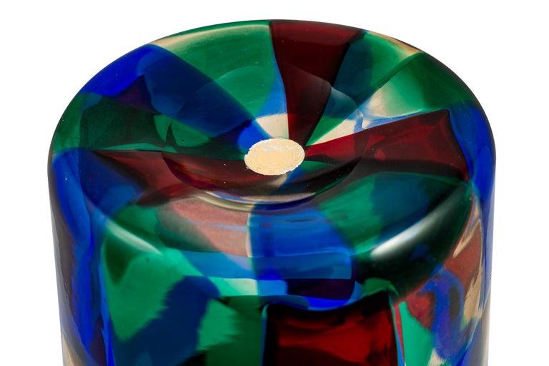 Mid-20th Century Mid-Century Italian Murano Glass Vase Fulvio Bianconi Venini Blue Red Green For Sale