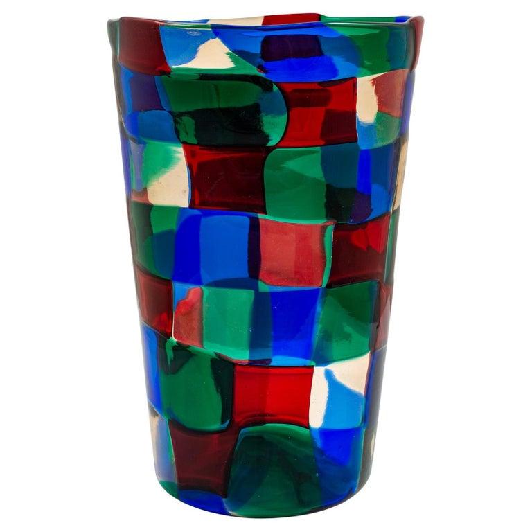 Mid-Century Italian Murano Glass Vase Fulvio Bianconi Venini Blue Red Green For Sale