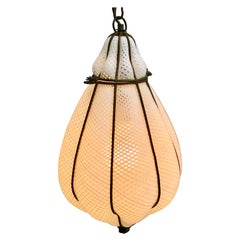 Mid Century Italian Murano Latticino Glass Cage Blown White Pendant Light