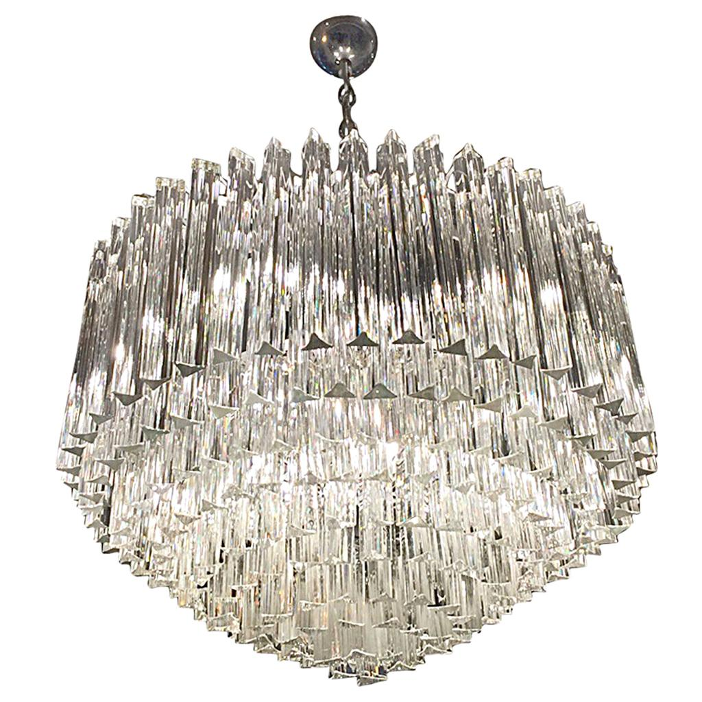 Midcentury Italian Murano Round Nine-Tiered Glass Chandelier