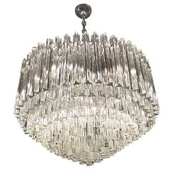 Midcentury Italian Murano Round Nine-Tiered Glass Chandelier