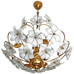 Midcentury Italian Murano White Flowers Art Glass and Gilt Brass Chandelier