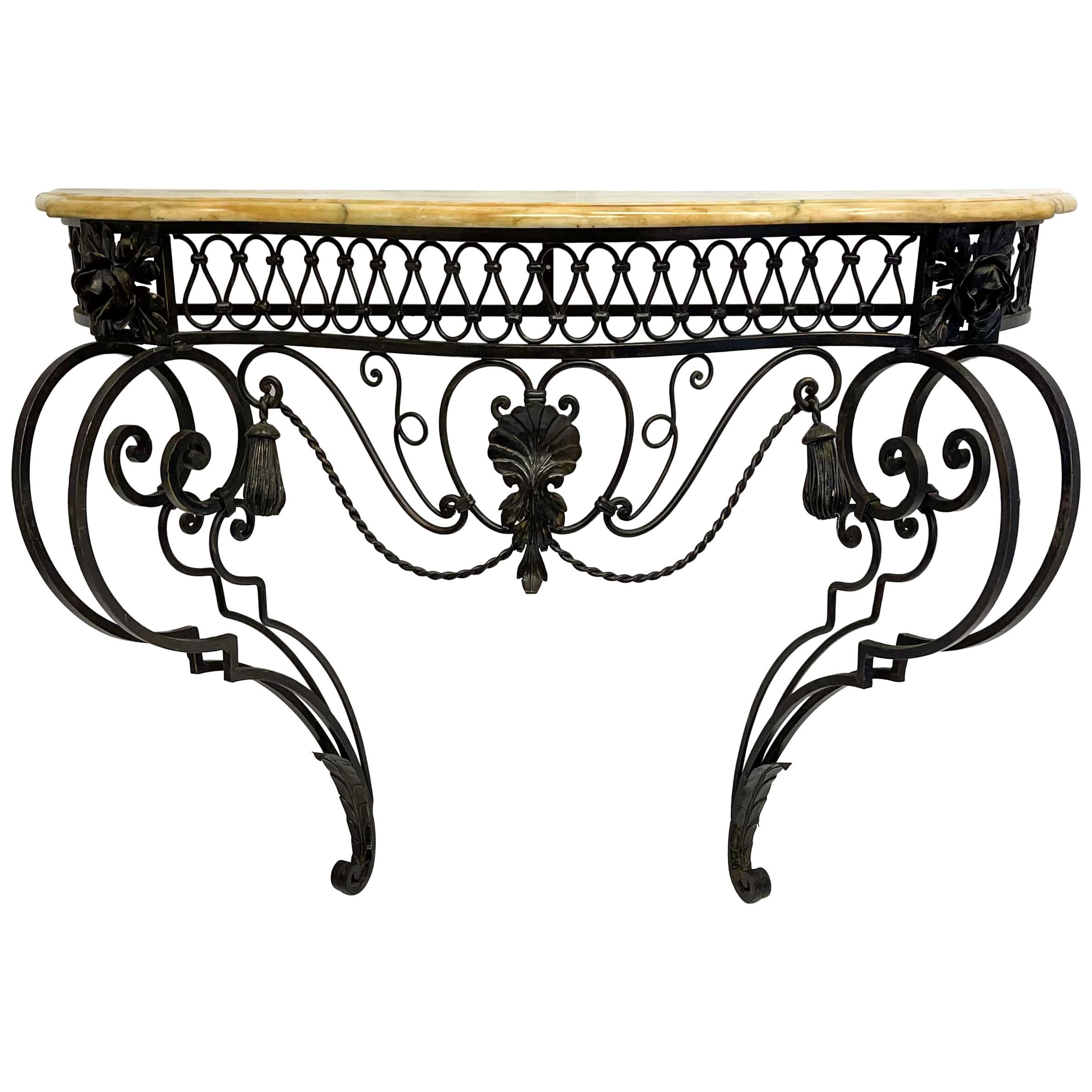 Mid-Century Italian Neo-Classical Style Iron and Marble Top Console Table