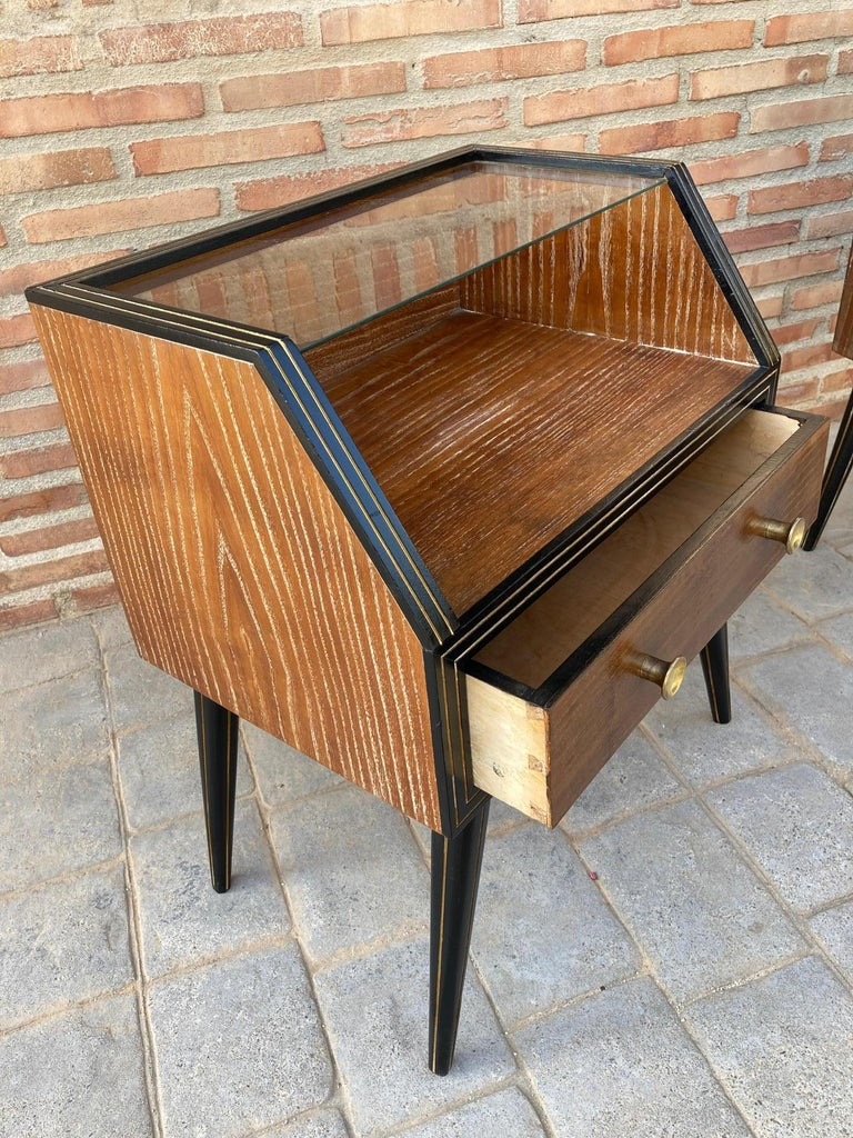 Mid Century Italian Nightstands with Glass, 1960s, Set of 2 For Sale 5
