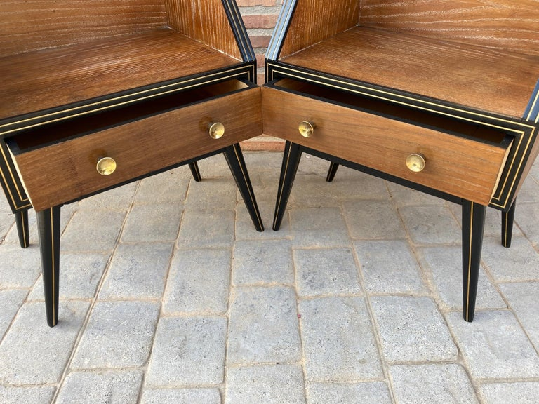 Mid Century Italian Nightstands with Glass, 1960s, Set of 2 For Sale 7
