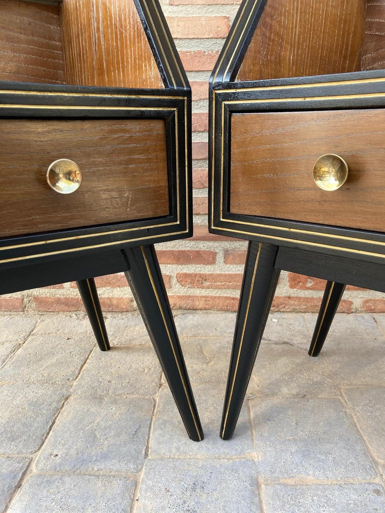 Mid Century Italian Nightstands with Glass, 1960s, Set of 2 For Sale 9