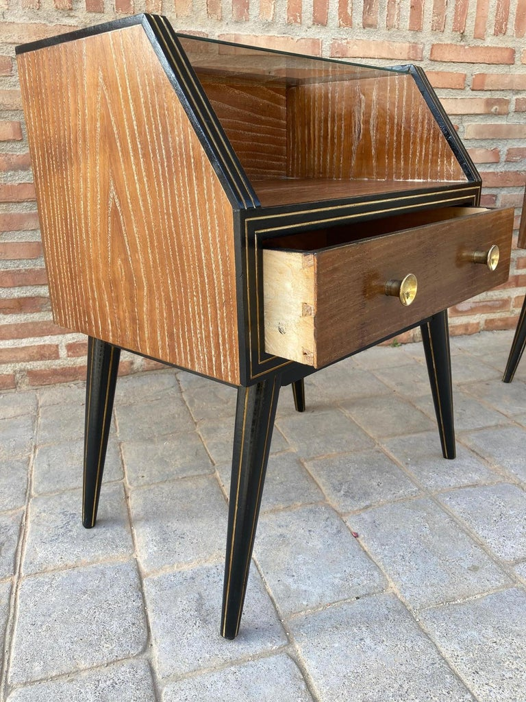 Mid Century Italian Nightstands with Glass, 1960s, Set of 2 For Sale 11
