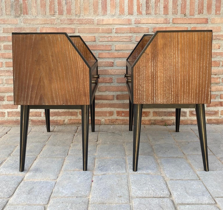 20th Century Mid Century Italian Nightstands with Glass, 1960s, Set of 2 For Sale