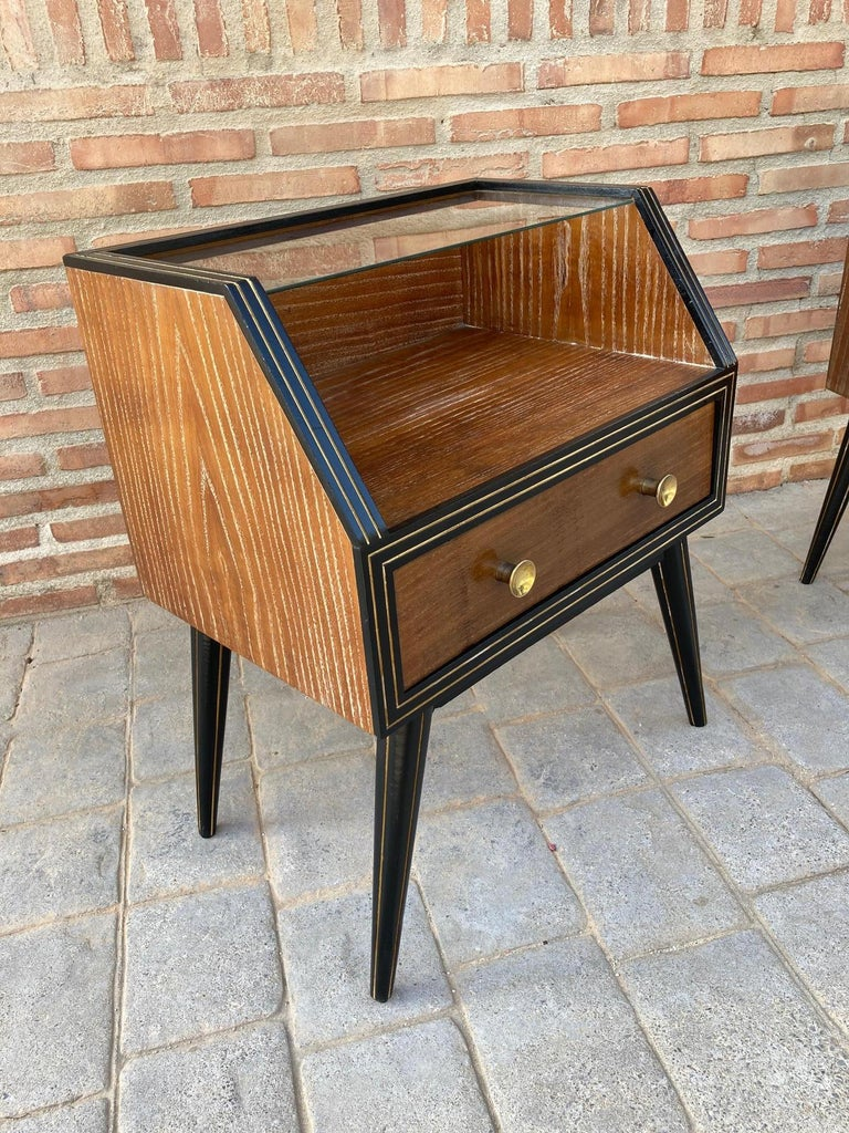 Mid Century Italian Nightstands with Glass, 1960s, Set of 2 For Sale 3