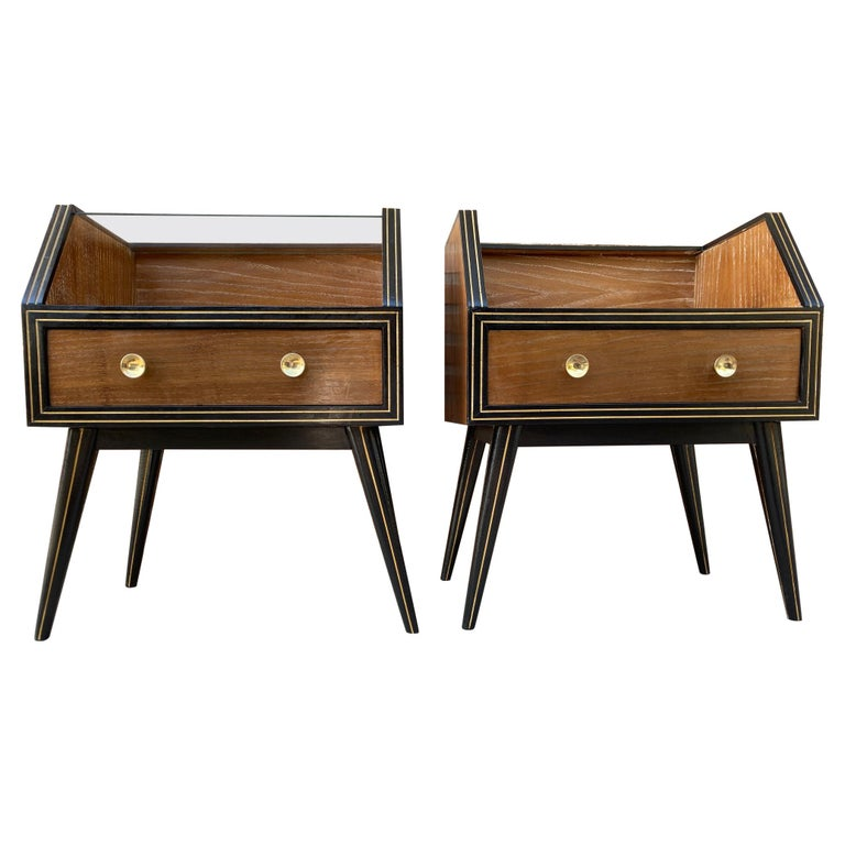 Mid Century Italian Nightstands with Glass, 1960s, Set of 2 For Sale