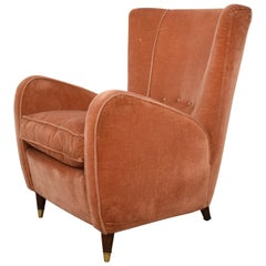 Midcentury Italian Old Rose Velvet Lounge Chair Armchair by Paolo Buffa, 1950s