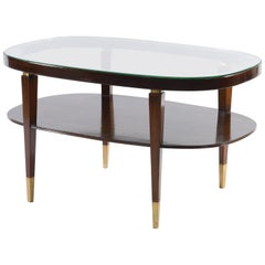 Midcentury Italian Oval Double Shelf Coffee Table Brass Details