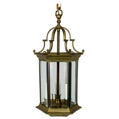 Midcentury Italian Pagoda-Esque Bronze and Beveled Glass Lantern