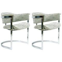 Midcentury Italian Pair of Chrome Metal Armchairs Chairs Original Grey Fabric