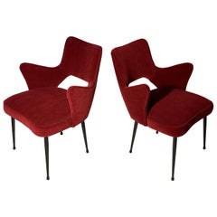 Mid Century Italian Pair of Armchairs Red Fabric Black Laquered Metal Leggs 1950