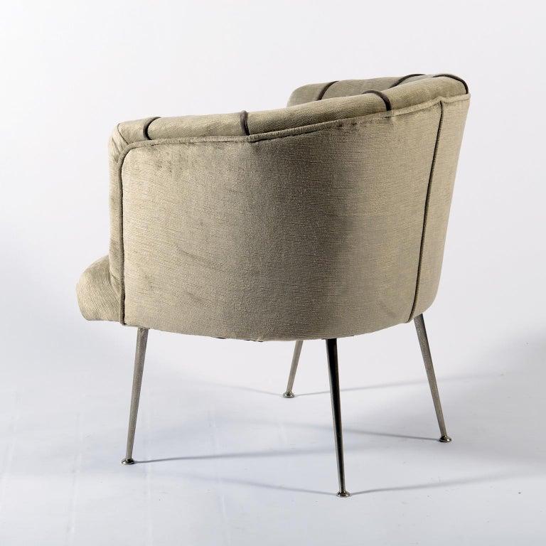 Midcentury Italian Pair of Demilune Armchairs, 1950s For Sale 6