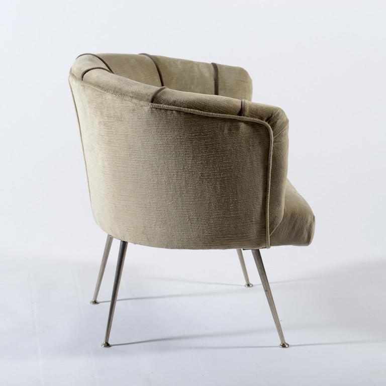 Midcentury Italian Pair of Demilune Armchairs, 1950s For Sale 1
