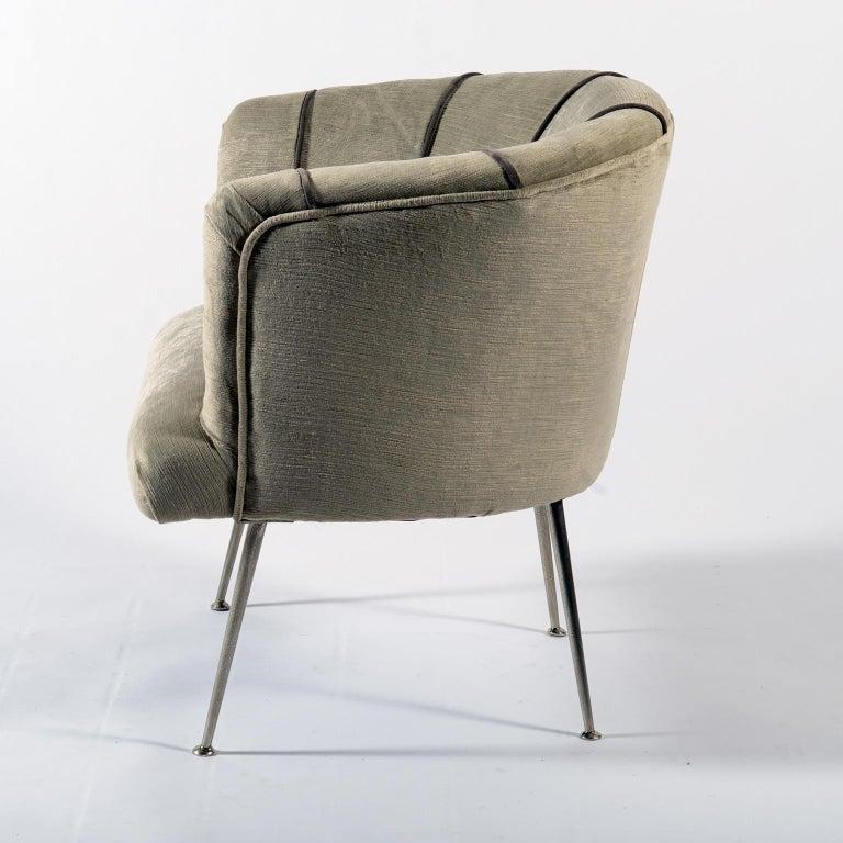 Midcentury Italian Pair of Demilune Armchairs, 1950s For Sale 2