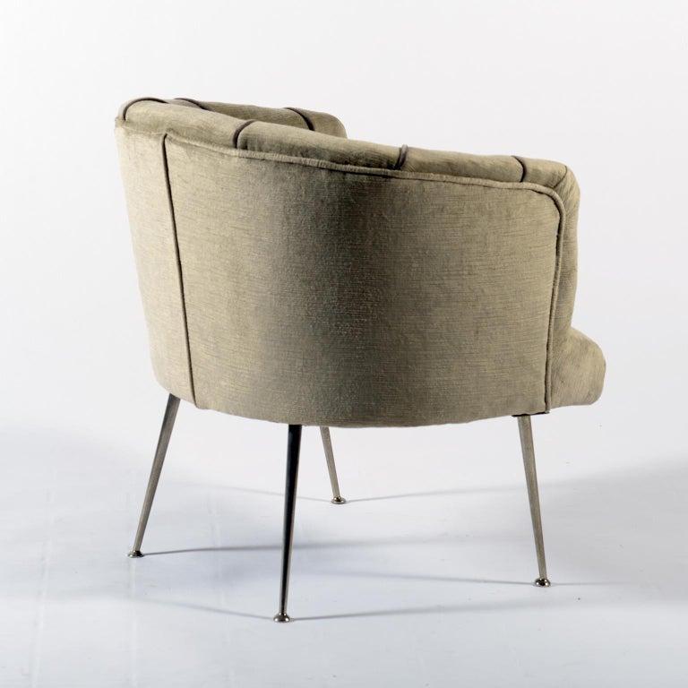 Midcentury Italian Pair of Demilune Armchairs, 1950s For Sale 3