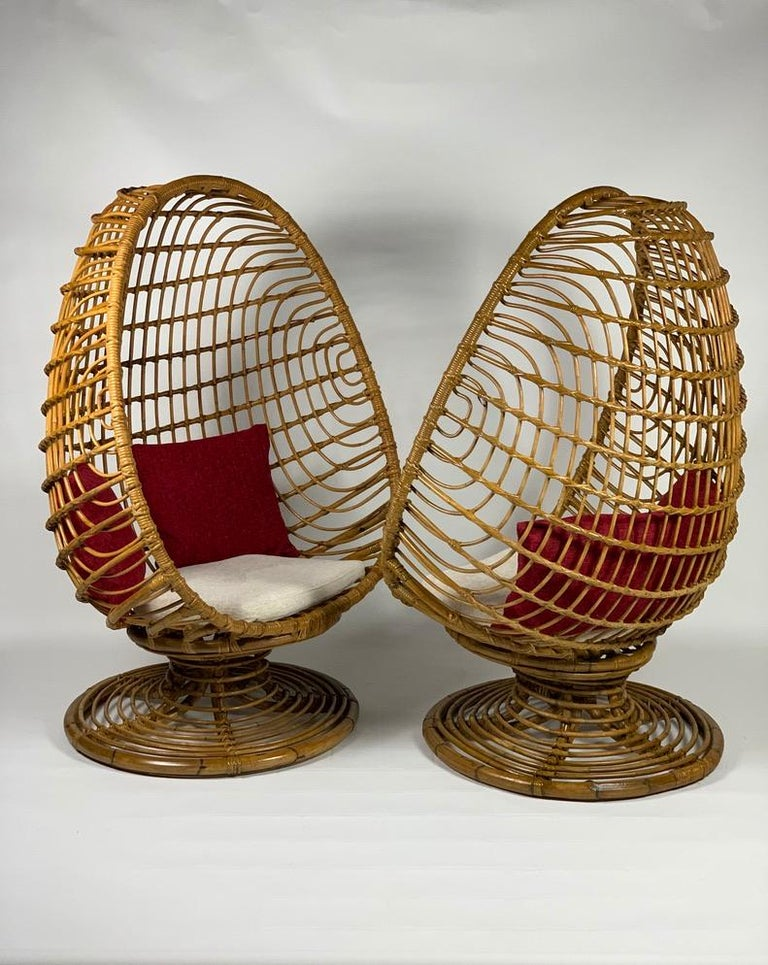 Pair of 1950s Italian rattan bamboo armchairs with an