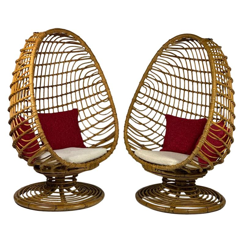 "Midcentury Italian Pair of ""Egg"" Shaped Rattan Bamboo Armchairs"