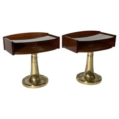 Mid Century  Italian Pair of Night Stand  or side table  Cast Brass Base .